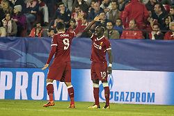 November 21, 2017 - Seville, Spain - SADIO MANE (R ) and ROBERTO FIRMINO of Liverpool celebrate after scoring 2-0 during the UEFA Champions League Group E soccer match between Sevilla FC and Liverpool FC at Estadio Ramon Sanchez Pizjuan (Credit Image: © Daniel Gonzalez Acuna via ZUMA Wire)