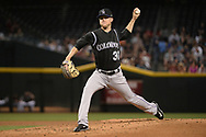 Apr 28, 2017; Phoenix, AZ, USA; Colorado Rockies starting pitcher Kyle Freeland (31) delivers a pitch in the first inning against the Arizona Diamondbacks at Chase Field. Mandatory Credit: Jennifer Stewart-USA TODAY Sports