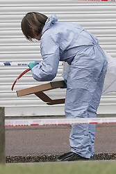 © Licensed to London News Pictures. 26/09/2016. London, UK. A forensics officer collects evidence at the scene where a man was fatally stabbed. Police were called to to a disturbance in Braintree Road on Sunday evening 25th September 2016 where officers found a man in his thirties suffering from stab wounds. He died at the scene a short while later. A murder investigation has been launched. Photo credit: Peter Macdiarmid/LNP