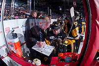 REGINA, SK - MAY 22: The Hamilton Bulldogs' bench at the Brandt Centre on May 22, 2018 in Regina, Canada. (Photo by Marissa Baecker/CHL Images)