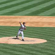 Pitcher Justin Verlander pitching for the Detroit Tigers  during the New York Yankees V Detroit Tigers Major League Baseball regular season baseball game at Yankee Stadium, The Bronx, New York. 11th August 2013. Photo Tim Clayton