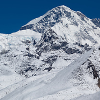 Cho Oyu (8201m), the sixth highest mountain in the world, seen on the way from Thame to Sunder Peak.