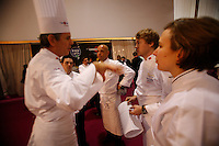 Timothy Hollingsworth, Team USA chef, with his commis Adina Guest, and Thomas Keller and Gavin Kaysen..  at the Bocuse d'Or..Owen Franken for the NY Times..January 27, 2009