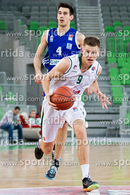 Lovre Basic of KK Zadar and Blaz Mesicek of KK Union Olimpija during basketball match between KK Union Olimpija Ljubljana and KK Zadar (CRO) in 21st Round of ABA League 2015/16, on January 23, 2016 in Arena Stozice, Ljubljana, Slovenia. Photo by Urban Urbanc / Sportida