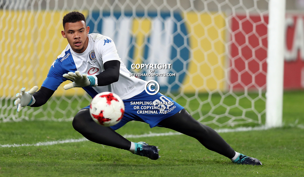 DURBAN, SOUTH AFRICA - AUGUST 12: Ronwen Williams G/K of SuperSport United during the MTN 8 Quarter Final between Kaizer Chiefs and SuperSport United at Moses Mabhida Stadium on August 12, 2017 in Durban, South Africa. (Photo by Gallo Images)