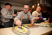 New York, NY - January 24, 2018: Chef Jim Shirley and a team of chefs from Seaside, Florida present dinner at the James Beard House in Greenwich Village.<br /> <br /> CREDIT: Clay Williams for The James Beard Foundation.<br /> <br /> &copy;Clay Williams / http://claywilliamsphoto.com