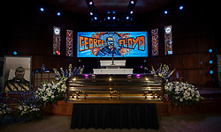 The casket of George Floyd before a memorial service at North Central University in Minneapolis. Photo by Carlos Gonzalez/Minneapolis Star Tribune/TNS/ABACAPRESS.COM