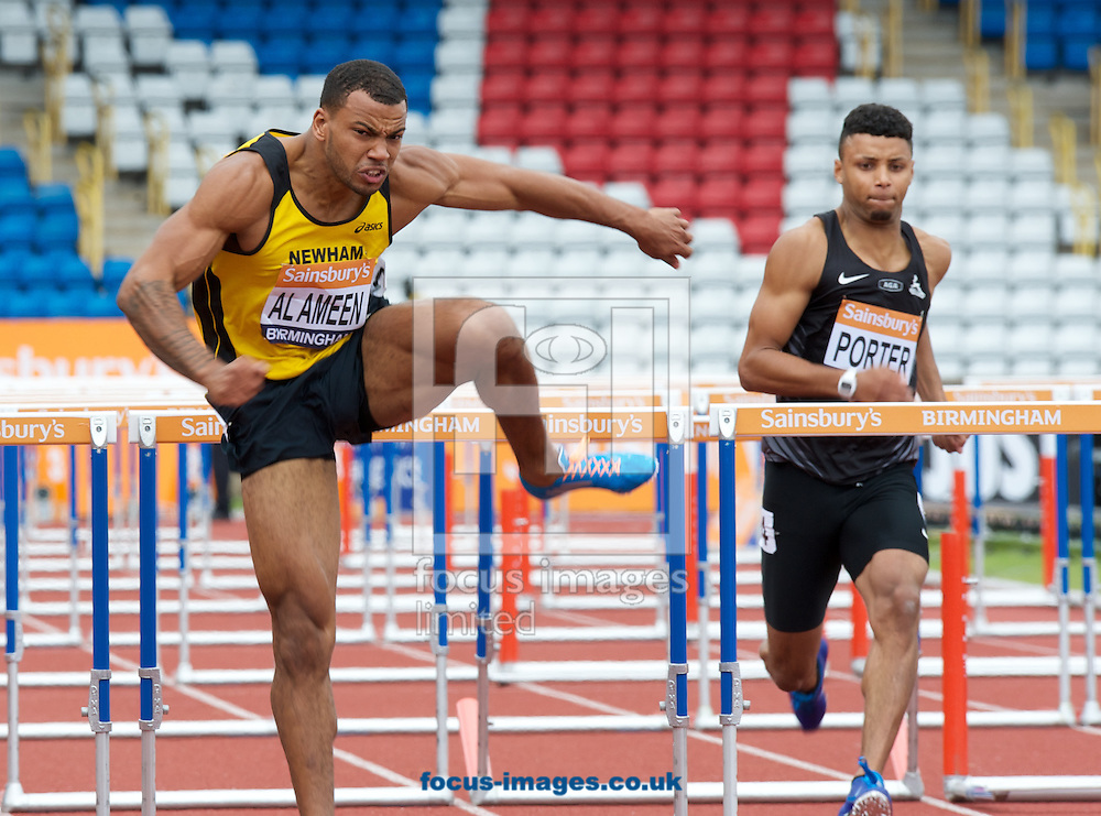 Alex Al-Ameen wins his 110m hurdles heat during the Sainsburys British Championships at Alexander Stadium, Birmingham<br /> Picture by Alan Stanford/Focus Images Ltd +44 7915 056117<br /> 29/06/2014