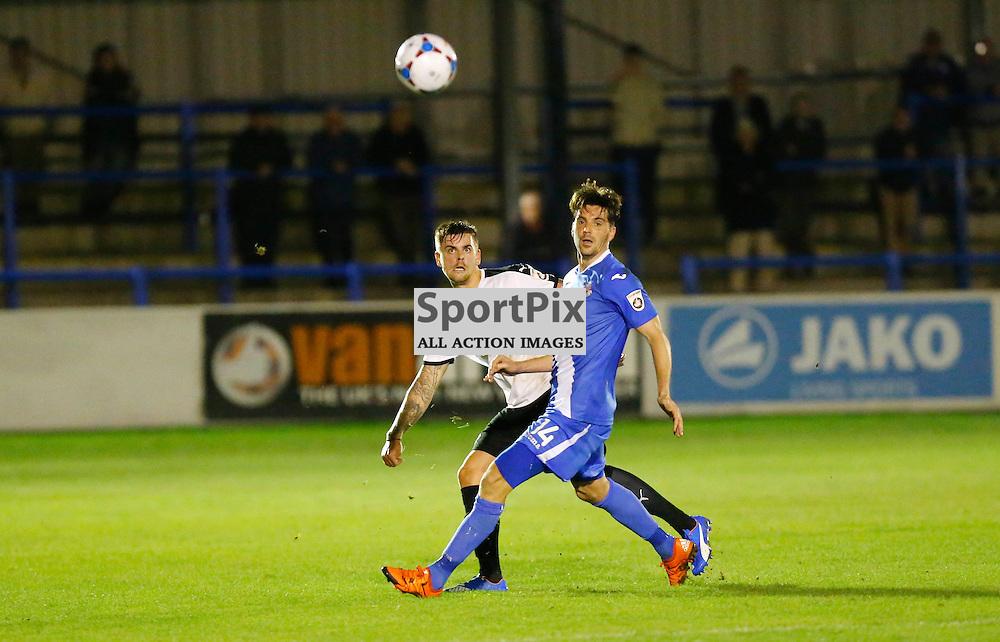 Dover's defender Sam Magri (2) pushes the ball upfield. Dover Athletic v Eastleigh. Vanarama National League. 10  November 2015. (c) Matt Bristow | SportPix.org.uk