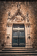 Croatian old doorway with carved stone surround, Dubrovnik Croatia