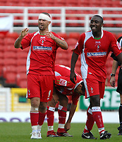 Photo: Ed Godden.<br />Swindon Town v Stockport County. Coca Cola League 2. 26/08/2006. Christian Roberts (L)  celebrates his goal for Swindon.