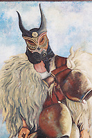 Italie. Sardaigne. Province de Nuoro. Village de Ottana. Carnaval. mardi gras. Masque traditionel des Boes et Merdules. Peinture de Pina Mone.// Italy. Sardinia. Nuoro province. Ottana village. Canival with Boes and Merdules mask. Painting from Pina Mone.