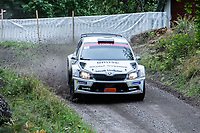 2019-09-07 | Linköping, Sweden: Fredrik Åhlin / Joakim Sjöberg during East Rally Sweden / Rally SM in Linköping ( Photo by: Simon Holmgren | Swe Press Photo )<br /> <br /> Keywords: Linköping, Linköping, Rally, East Rally Sweden / Rally SM, ,