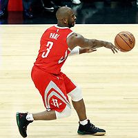28 February 2018: Houston Rockets guard Chris Paul (3) passes the ball during the Houston Rockets 105-92 victory over the LA Clippers, at the Staples Center, Los Angeles, California, USA.