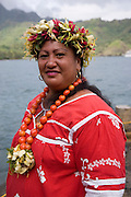 Woman, Puamau, Hiva Oa, Marquesas Islands, French Polynesia, (Editorial use only)<br />