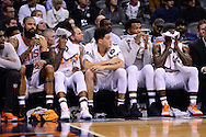 Jan 3, 2017; Phoenix, AZ, USA;  Phoenix Suns center Tyson Chandler (4), forward Marquese Chriss (0), guard Devin Booker  (1), forward TJ Warren (12) and guard Eric Bledsoe (2) react on the bench in the first half of the NBA game against the Miami Heat at Talking Stick Resort Arena. The Suns won 99-90. Mandatory Credit: Jennifer Stewart-USA TODAY Sports
