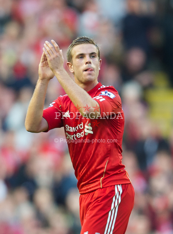LIVERPOOL, ENGLAND - Saturday, August 27, 2011: Liverpool's Jordan Henderson applauds the fans as he is given a standing ovation against Bolton Wanderers during the Premiership match at Anfield. (Pic by David Rawcliffe/Propaganda)