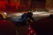 A man is arrested in the middle of the street after being chased by the police in Bedford-Stuyvesant.