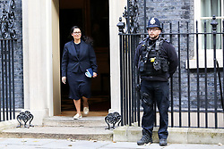 © Licensed to London News Pictures. 22/10/2019. London, UK. Home Secretary PRITI PATEL departs from No 10 Downing Street after attending the weekly cabinet meeting. Photo credit: Dinendra Haria/LNP