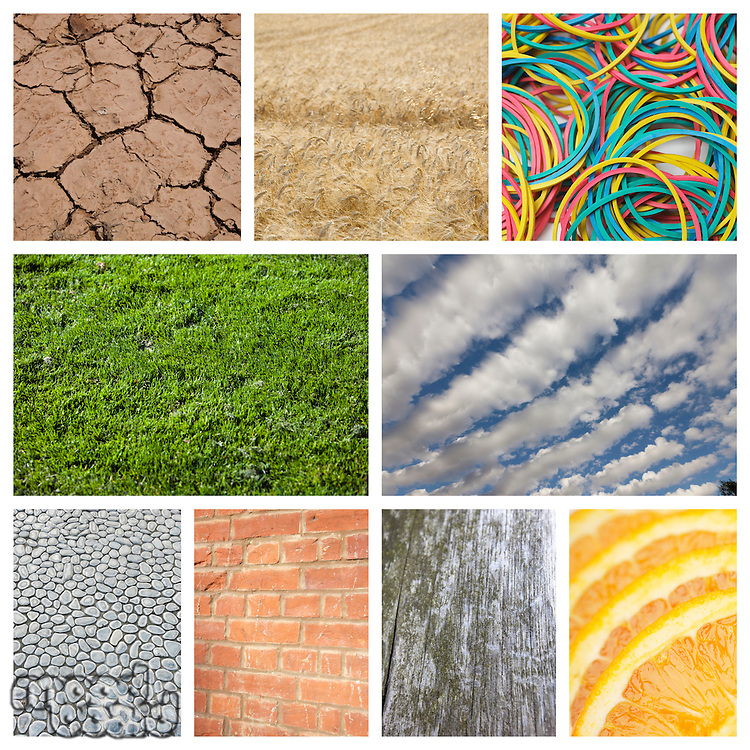 Collage of nature with brick wall and rubber bands