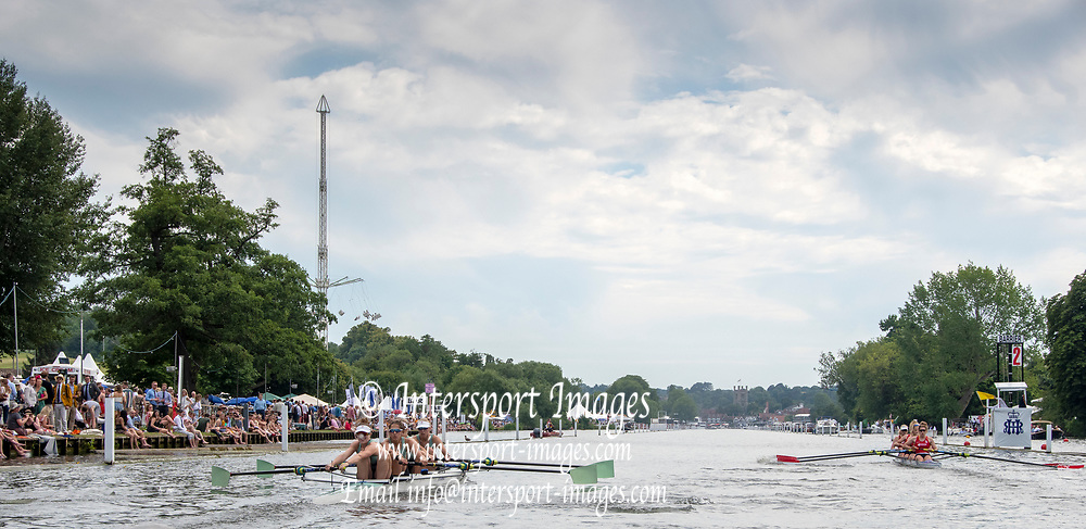 Henley on Thames, England, United Kingdom, Friday, 05.07.19, Hollandia Roeiclub, Netherlands, NED, (Right) leading <br /> Cambridge University Women's Boat Club A (left), in the Heat of the Town Challenge Cup, Henley Royal Regatta,  Henley Reach, [©Karon PHILLIPS/Intersport Images]<br /> <br /> 16:12:09 1919 - 2019, Royal Henley Peace Regatta Centenary,