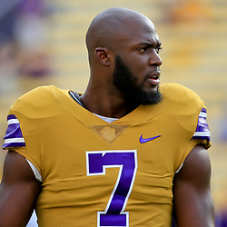 Sep 17, 2016; Baton Rouge, LA, USA;  LSU Tigers running back Leonard Fournette (7) before a game against the Mississippi State Bulldogs at Tiger Stadium. Mandatory Credit: Derick E. Hingle-USA TODAY Sports