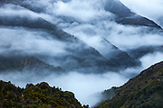 Rain and mist blanket forested slopes of podocarp trees above Mungo River, West Coast, New Zealand.