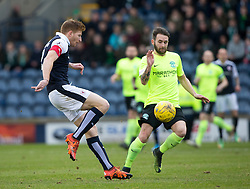Raith Rovers Jason Thomson and Hibernian's James Keating. halt time : Raith Rovers 0 v 0 Hibernian, Scottish Championship game played 18/2/2017 at Starks Park.