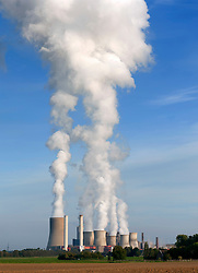 View of emissions from Niederaussem coal fired power station in Bergheim district of North Rhine Westfallen Germany