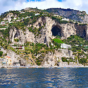 Amalfi coast, the village of Conca dei Marini perched on the cliff