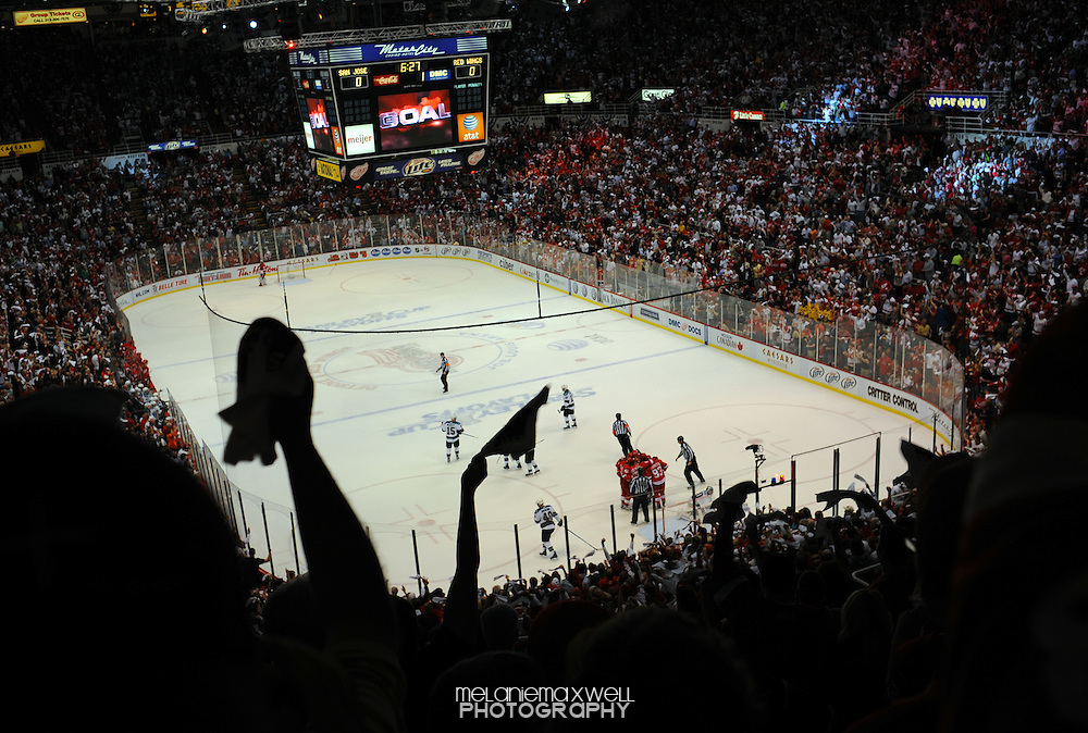 Detroit Red Wings playoff game at Joe Louis Arena in Detroit, Michigan.