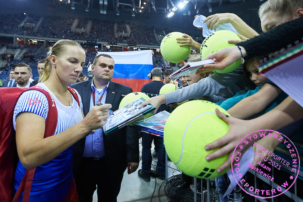 Svetlana Kuznetsova from Russia signs her autographs during First Day of the Fed Cup / World Group 1st round tennis match between Poland and Russia at Tauron Krakow Arena on February 7, 2015 in Cracow, Poland.<br /> <br /> Poland, Cracow, February 7, 2015<br /> <br /> Picture also available in RAW (NEF) or TIFF format on special request.<br /> <br /> For editorial use only. Any commercial or promotional use requires permission.<br /> <br /> Adam Nurkiewicz declares that he has no rights to the image of people at the photographs of his authorship.<br /> <br /> Mandatory credit:<br /> Photo by &copy; Adam Nurkiewicz / Mediasport