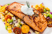salmon fillet over mixed vegetables