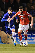 Gillingham defender Max Ehmer and Walsall midfielder Anthony Forde during the Sky Bet League 1 match between Gillingham and Walsall at the MEMS Priestfield Stadium, Gillingham, England on 12 April 2016. Photo by Martin Cole.