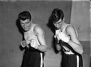 National Junior Boxing Championships.18/12/1952<br /> On right S. McKenna (St Canices?) Light/welterweight runner up.<br /> On Left A. Power (Civil Service) Light/welterweight winner.