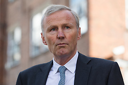 © Licensed to London News Pictures. 28/09/2018. London, UK.  Clive Schlee, CEO of Pret a Manger speaks to the press after leaving West London Coroner's Court with a photograph of Natasha Ednan-Laperouse following the inquest into the death of Natasha Ednan-Laperouse. Natasha Ednan-Laperouse, aged 15, died on a British Airways flight to from London to Niece, when she fell ill after eating a Pret a Manger sandwich believed to contain sesame.  Photo credit: Vickie Flores/LNP