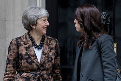 © Licensed to London News Pictures. 21/01/2019. London, UK. Prime Minister Theresa May (L) greets Prime Minister of New Zealand Jacinda Ardern (R) outside 10 Downing Street. Photo credit: Rob Pinney/LNP