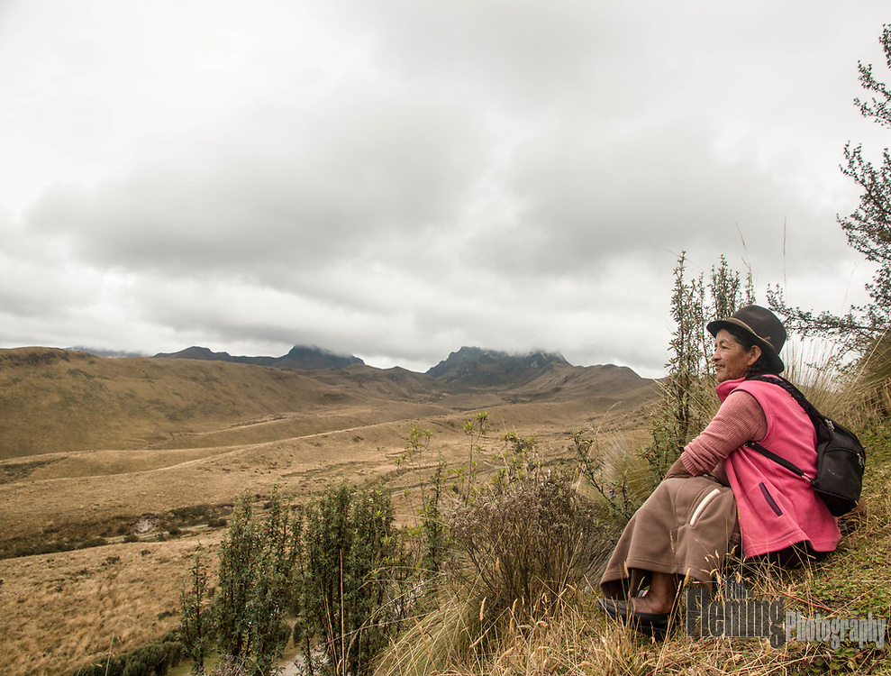Native woman looks out over the foothills of the Andes.
