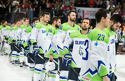 Jan Urbas of Slovenia, Matic Podlipnik of Slovenia, Sabahudin Kovacevic of Slovenia, Mitja Robar of Slovenia, Jurij Repe of Slovenia and Luka Vidmar of Slovenia after the 2017 IIHF Men's World Championship group B Ice hockey match between National Teams of France and Slovenia, on May 15, 2017 in AccorHotels Arena in Paris, France. Photo by Vid Ponikvar / Sportida