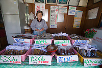 An elderly woman sells dried fish products in a small town on the Shimamui Coast.