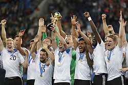 July 3, 2017 - Saint Petersburg, Russia - Julian Draxler of Germany national team lifts up the trophy as Germany national team players celebrate during award ceremony after FIFA Confederations Cup Russia 2017 final match between Chile and Germany at Saint Petersburg Stadium on July 2, 2017 in Saint Petersburg, Russia. (Credit Image: © Mike Kireev/NurPhoto via ZUMA Press)