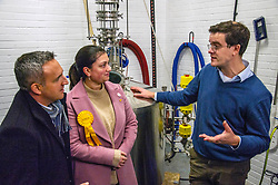 Pictured: Alex Cole-Hamilto, Rebecca Bell, LibDem prospective candidate for Dunfermline and West Fife with  Ian Stirling, one of the founders of the Port of Leith Distillery <br />