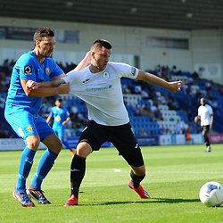 TELFORD COPYRIGHT MIKE SHERIDAN Aaron Williams of Telford is hauled back by James Mace during the National League North fixture between AFC Telford United and Leamington AFC at the New Bucks Head on Monday, August 26, 2019<br /> <br /> Picture credit: Mike Sheridan<br /> <br /> MS201920-005