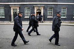© Licensed to London News Pictures. 06/02/2017. London, UK. Police walk past Downing Street after Israeli Prime Minister Benjamin Netanyahu leaves Downing Street after meeting British Prime Minister Theresa May. Photo credit : Tom Nicholson/LNP