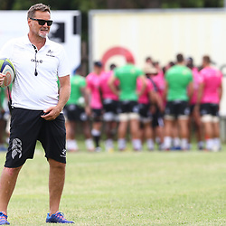 Robert du Preez (Head Coach) of the Cell C Sharks during the cell c sharks training session at  Growthpoint Kings Park 13,02,2018 Photo by Steve Haag)