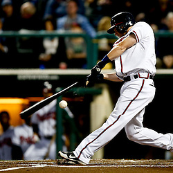 Mar 7, 2013; Lake Buena Vista, FL, USA; Atlanta Braves shortstop Tyler Pastornicky (1) breaks his bat on a ground out against the Detroit Tigers during the bottom of the third inning of a spring training game at Champion Stadium. Mandatory Credit: Derick E. Hingle-USA TODAY Sports