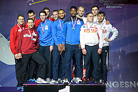 Podium Equipe Allemagne / Equipe France / Equipe Russie  - 03.05.2015 - Challenge SNCF Reseau - Coupe du Monde Epee messieurs<br />