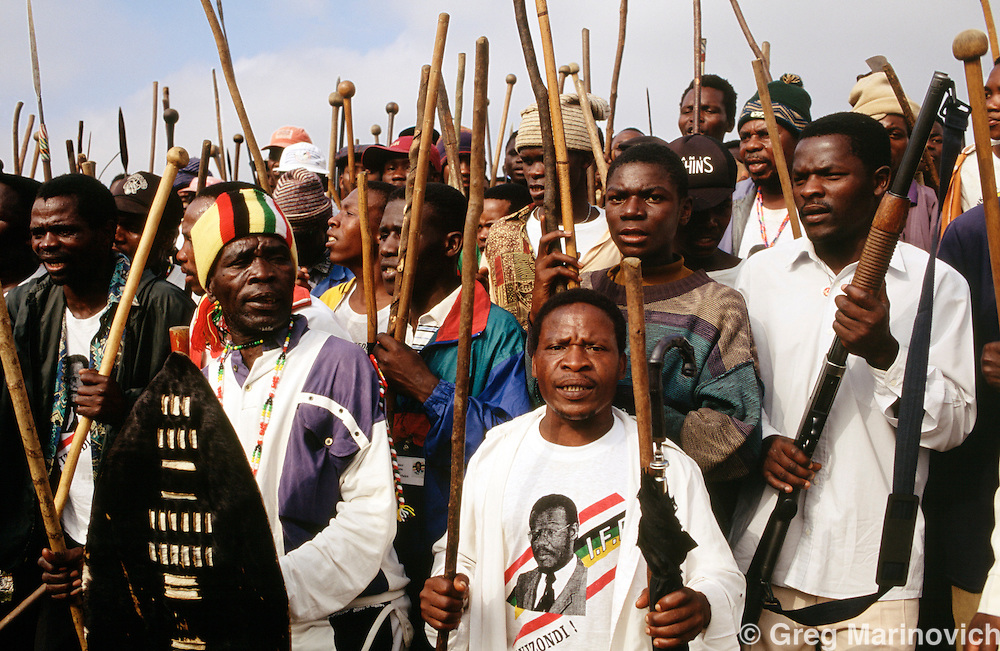 KwaZulu Natal, South Africa.  Inkatha Freedom Party supporters, 1992-4,