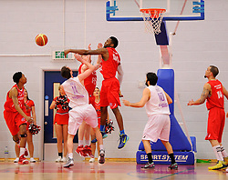 Bristol Flyers' Alif Bland blocks a leeds effort  - Photo mandatory by-line: Joe Meredith/JMP - Mobile: 07966 386802 - 18/04/2015 - SPORT - Basketball - Bristol - SGS Wise Campus - Bristol Flyers v Leeds Force - British Basketball League