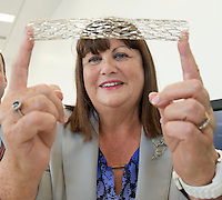 17/09/2013  REPRO FREE  Ms Máire Geoghegan-Quinn, EU Commissioner for Innovation, Research and Science  with a stent during the opening of the Medtronic Global Innovation centre at Medtronic, Galway. Photo:Andrew Downes